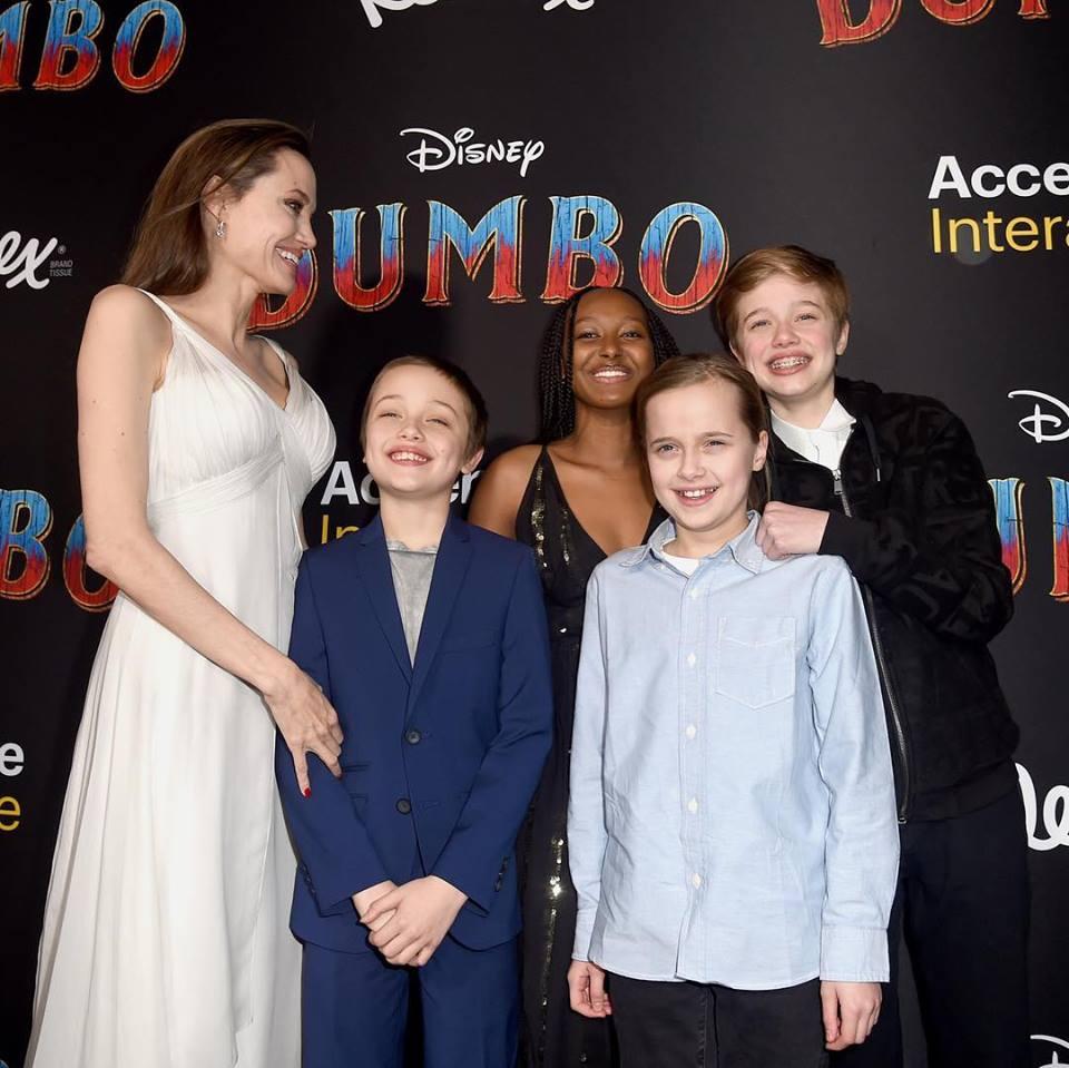 Angelina Jolie e seus filhos roubam a cena na première de Dumbo